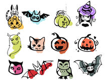 Colorful Halloween Set. A set of drawings on the theme of Halloween on colored substrates Stock Photo