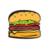 Colorful hamburger symbol with black outline Stock Photography