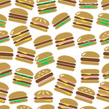 Colorful hamburgers types fast food modern simple icons color seamless pattern eps10 Stock Images