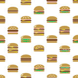 Colorful hamburgers types fast food modern simple icons seamless pattern eps10 Royalty Free Stock Images