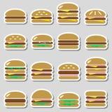 Colorful hamburgers types fast food modern simple stickers eps10. Colorful hamburgers types fast food modern simple stickers stock illustration