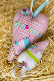 The colorful hamdmade textile big and small toy hearts Stock Photography