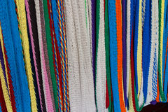 Colorful hammkocks hanging as a background Royalty Free Stock Images
