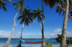 Colorful hammock between palm trees, Ofu island, Vavau group, To Royalty Free Stock Photos