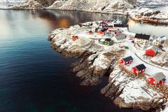 Colorful Hamnoy village on snow in winter at Lofoten royalty free stock photo