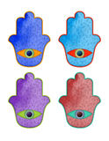 Colorful Hamsas. A set of colorful hamsa hands with a light texture, floral pattern, and an eye Royalty Free Stock Photo