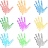 Colorful hand. Illustration print palms in different colors on a white background Stock Photos
