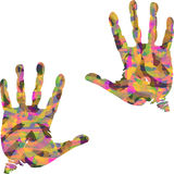 Colorful hand. Illustration of colorful palm prints on a white background Stock Photography