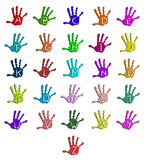 Colorful hand alphabet. Isolated on white Stock Image