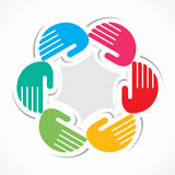 Colorful hand arrange in round manner Stock Images
