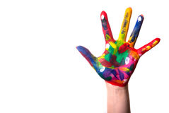 A colorful hand with Copy Space. A painted colorful hand against a white background and text space Royalty Free Stock Photo