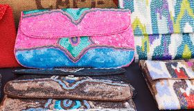 Colorful Hand-Crafted Beaded Purses Stock Photos