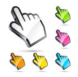 Colorful hand cursors Royalty Free Stock Photography