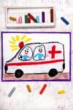 Drawing: ambulance and paramedics. Colorful hand drawing: ambulance and paramedics stock photo