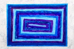 Colorful hand drawing: blue rectangles stock image