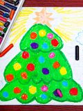Drawing: Christmas tree. Colorful hand drawing: Christmas tree Royalty Free Stock Photos