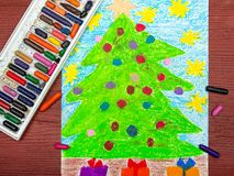 Drawing: Christmas tree Stock Photo