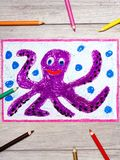 Drawing and crayons: Smiling cute octopus royalty free stock photo