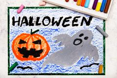 Colorful hand drawing: Cute Hallowen Pumpkin and Scary Ghost. Halloween drawing on white background stock photos
