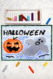 Colorful hand drawing: Cute Hallowen Pumpkin and Scary Ghost. Halloween drawing on white background stock photography