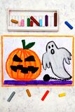 Colorful hand drawing: Cute Hallowen Pumpkin and Scary Ghost royalty free stock photography