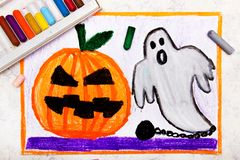 Colorful hand drawing: Cute Hallowen Pumpkin and Scary Ghost. Halloween drawing on white background royalty free stock image