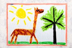 Colorful hand drawing: giraffe with long neck stock photo