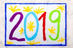 Colorful hand drawing: Happy New Year 2019 stock images