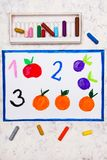hand drawing. Numbers: one apple, two plums, and three oranges royalty free stock photos