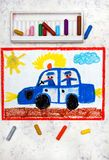 Drawing: police car and two policemen. Colorful hand drawing: police car and two policemen royalty free stock image