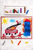 Colorful hand drawing: red fire truck with a ladder. stock images