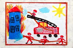 Drawing: red fire truck with a ladder. Firefighters extinguish a fire. Colorful hand drawing: red fire truck with a ladder. Firefighters extinguish a fire vector illustration
