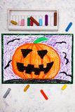 Colorful hand drawing: Scary Hallowen pumpkin. royalty free stock photo