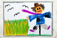 Colorful hand drawing: scary scarecrow. Next to the grain field stock illustration
