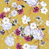 Colorful hand drawing seamless pattern Blooming drawing florals. Background for textile decor and design. botanical wallpaper on vintage yellow background Royalty Free Stock Image