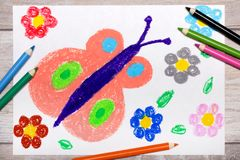 Drawing: Springtime, butterfly and cute flowers. Colorful hand drawing: Springtime, butterfly and cute flowers stock image