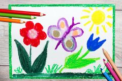 Hand drawing: Springtime, butterfly and cute flowers. Colorful hand drawing: Springtime, butterfly and cute flowers stock images