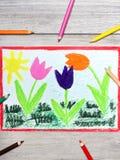 Drawing: Tree beautiful tulip flowers and sun. stock photos