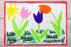 Drawing: Tree beautiful tulip flowers and sun. Springtime royalty free illustration