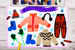 Colorful hand drawing: Winter clothes Stock Photos