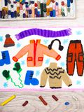 Colorful hand drawing: Winter clothes Stock Image