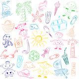 Colorful Hand Drawings of Summer Vacancies Symbols. Doodle Boats, Ice cream, Palms, Hat, Umbrella, Jellyfish, Cocktail, Sun and Ki Stock Images