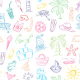Colorful Hand Drawings of Summer Vacancies Symbols. Doodle Boats, Ice cream, Palms, Hat, Umbrella, Jellyfish, Cocktail, Sun. Royalty Free Stock Photography