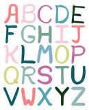 Colorful hand drawn abstract alphabet. Alphabet , flat style, font isolated, type. Children ABC for decoration of kids illustration, websites, posters, comics Royalty Free Stock Image