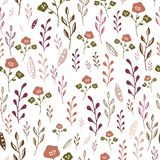 Colorful hand drawn abstract flowers on white background seamless pattern. royalty free illustration