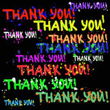 Colorful hand drawn abstract vector background of words `thank you!` with bright splashes. On black Stock Photography