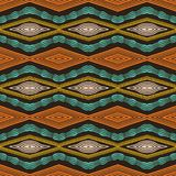 Colorful hand drawn african tribal diamonds pattern. Seamless vector textile background. Hand drawn horizontal chevron style wave vector illustration