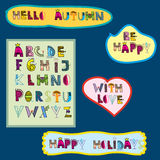 Colorful hand drawn alphabet in doodles style. For children and holiday projects. Phrases - with love, hello autumn, be happy , happy holidays Royalty Free Stock Photo