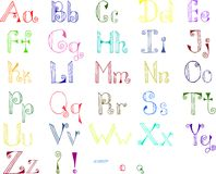 Colorful hand drawn alphabet. Isolated on white Stock Photo