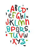Colorful hand drawn alphabet. Colorful hand drawn vector alphabet. Brush letters on white background Stock Image